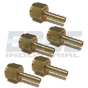 (5 PACK) 14 HOSE ID TO 38 FEMALE NPSM SWIVEL BRASS ADAPTER FITTING W GASKET