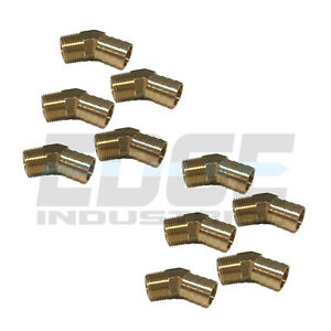 10 Pack 3 4 Hose Barb X 1 2 Male Npt Brass Elbow 45 Degree Pipe Fitting Wog