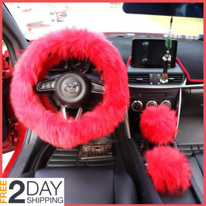 Steering Wheel Cover Set Cute Red Fluffy Fur Bling Wool Car Accessories Women Us