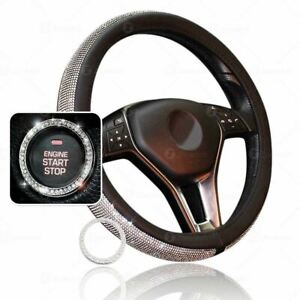 Zone Tech Bling Pu Leather Steering Wheel Cover Crystal Rhinestone Ring Sticker