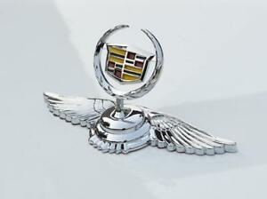 Chrome Metal Car Front Hood Ornament Sticker Badge Decal Emblem Fit For Cadillac