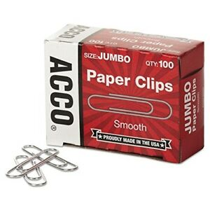 Acco Paper Clips Economy Smooth Jumbo 100 box 50 Boxes 72580 By Unknown