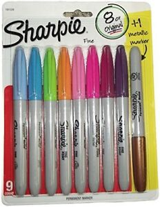 Sharpie Fine Point Permanent Markers 9 Count Asst Colors With 1 Metallic