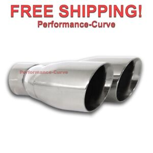 Stainless Steel Exhaust Tip 2 5 In Dual 3 5 Out 9 5 Long