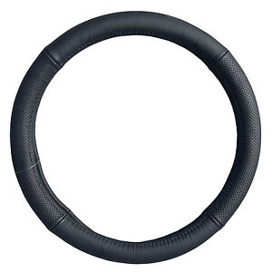 Black Genuine Leather Perforated Steering Wheel Cover Truck Car 14 5 15 5