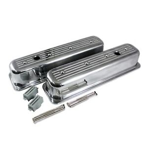 Ball Milled Polished Aluminum Valve Covers Sbc 350 Chevy 5 7l Tall Centerbolt