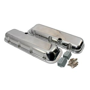 Aluminum Polished Valve Covers Short Big Block Chevy 396 454 With Breather Holes