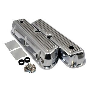 Aluminum Tall Valve Covers Retro Finned Polished 62 85 Sbf Ford 289 302 351w 5 0