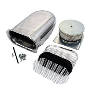 Hilborn Style Aluminum Polished Smooth Hood Air Scoop Kit 4 Barrel Carburetor
