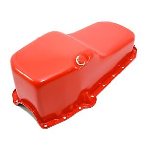 Stock Capacity Oil Pan Orange Painted 58 79 Sbc Small Block Chevy 327 350 400