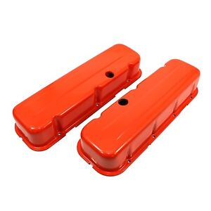 Tall Style Orange Steel Valve Covers Big Block Chevy 454 Bbc 396 402 427