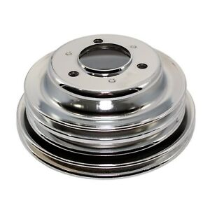Chrome Crankshaft Pulley For Long Water Pump 3 Groove Bbc Chevy 396 427 454