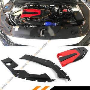 For 2016 18 Honda Civic Jdm Red Blk Type R Style Engine Cover Side Panel Cover