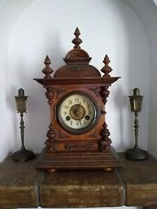 Beautiful Antique French Coach Clock Wood With Key Mint