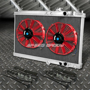 2 Row Aluminum Radiator 2x 9 Fan Red For 94 01 Acura Integra Gs Rs Db Gsr Dc2