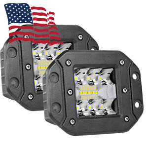 2pc 130w Cree Flood Led Cube Pods Work 5 Lights Flush Mount Offroad Truck White