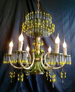 Rare Tole Yellow Green French Riviera Chandelier Murano Opaline Crystal Drops