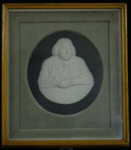 Rare Framed Antique 18 C Wedgwood Jasperware Erasmus Darwin Portrait Medallion