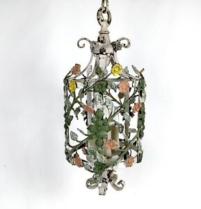 Antique Vintage Italian Tole Metal Hanging Chandelier