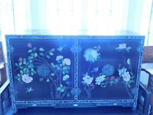 Asian Handpainted Wood Lacquered Cabinet Birds And Flowers
