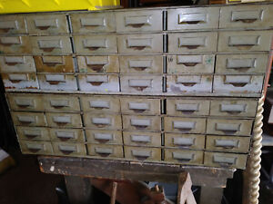 2 Vintage Lyon 24 Drawer Metal Parts Bin Cabinets Industrial 48 Drawer Storage