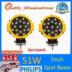 2x 7inch 51w Round Led Work Light Spot Off road Fog Driving 4wd Boat Jeep Yellow