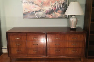 Mid Century Walnut 9 Drawer Chest Sideboard Buffet Entertainment Cabinet