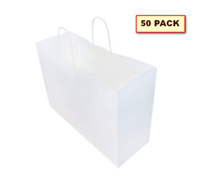 Kraft Paper Gift Bags Favor With Handles Shopping 16x6x12 Pack Of 50 White