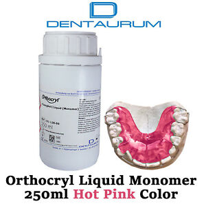 Dental Dentaurum Orthodontic Orthocryl Clear Acryl Resin Liquid 250ml Hot Pink