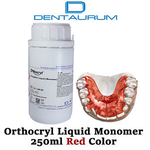 Dental Dentaurum Orthodontic Orthocryl Clear Acryl Resin Liquid 250ml Red