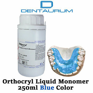 Dental Dentaurum Orthodontic Orthocryl Clear Acryl Resin Liquid 250ml Blue