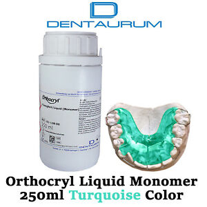 Dental Dentaurum Orthodontic Orthocryl Clear Acryl Resin Liquid 250ml Turquoise
