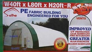 40x80x20 Canvas Fabric Tarp Storage Building Shop Metal Frame Pre fab Quonset