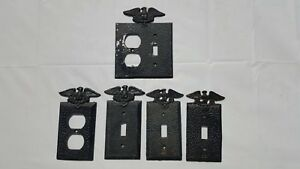 Vintage Black Hammered Metal Eagle Switch Plates And Outlet Covers
