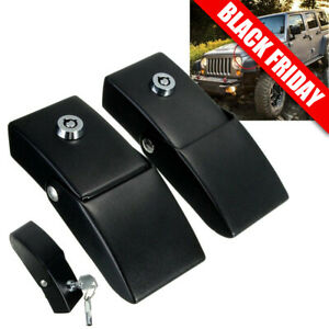Aluminum Locking Hood Lock Catch Latches Kit Pair For 07 18 Jeep Wrangler Jk Jku