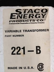 Staco 221 b Energy Type Variable Transformer 120v 2 5a 50 60hz