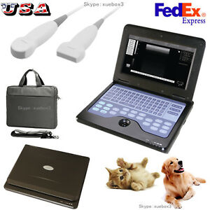 Veterinary Ultrasound Scanner Vet Laptop Machine linear micro Convex 2 Probes us