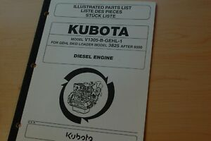 Kubota V1305 b Diesel Engine Parts Manual Book Catalog Gehl Skid Steer Loader