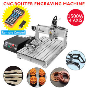 4axis 6040 Usb 1500w Cnc Router Engraving Carving Milling Machine Remote Control