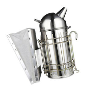 Bee Hive Smoker Stainless Steel With Heat Shield Protection Beekeeping Equip