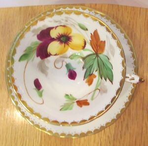 Vintage Tuscan Bone China Cup Saucer Hand Painted African Violets Gold Trim