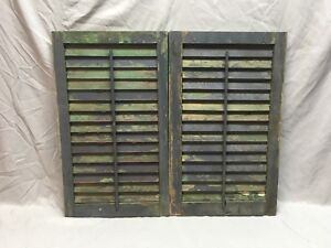Small Pair Antique House Window Wood Louvered Shutters 27x16 Shabby Vtg 359 18e