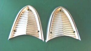 Vintage Ford Thunderbird Back up Light Block Off Plate Set Stainless Steel
