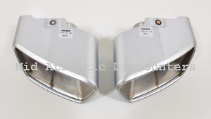 Pair Oem Exhaust Muffler Tips Stainless Brushed Satin Bmw X5 F15 14 15 16 17 18