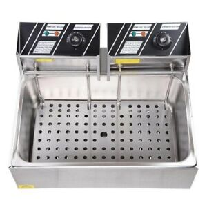 Basket Stainless Steel Electric Deep Fryer Commercial Fry Tank Restaurant