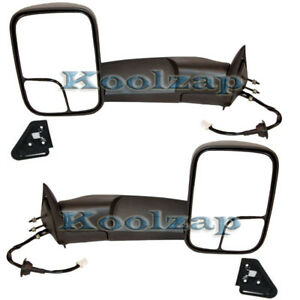 98 02 Ram Pickup Truck Power Heat W Bracket Tow Mirror Left Right Side Set Pair
