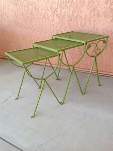 Vintage Salterini Iron Nesting Tables Patio Stacking Iron