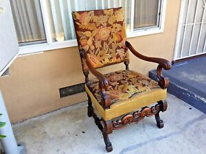 Antique French Louis Xv Stile H Carved Walnut Needlepoint Tapestry Arm Chair