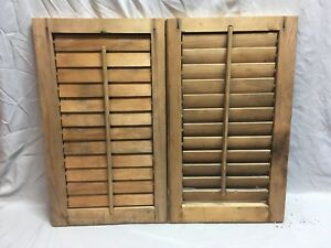 Small Pair Antique House Window Wood Louvered Shutters 24x14 Shabby Vtg 367 18e