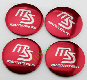 Red 2 2 Car Wheel Center Hub Caps Cover Emblem Badge Sticker For Mazdaspeed Ms